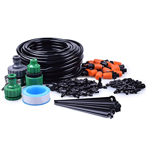 "MIXC 1/4-inch Drip Irrigation Kits Accessories Plant Watering System with 50ft 1/4"" Blank Distribution Tubing Hose, 20pcs Misters, 39pcs Barbed Fittings, Support Stakes, Quick Adapter, Model: (Model 3 Greenhouse)"