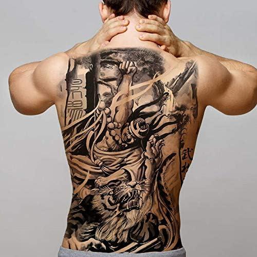 tzxdbh Big Black Tiger Tattoos Hombres Falsos Lobo Dragón Tatoo ...