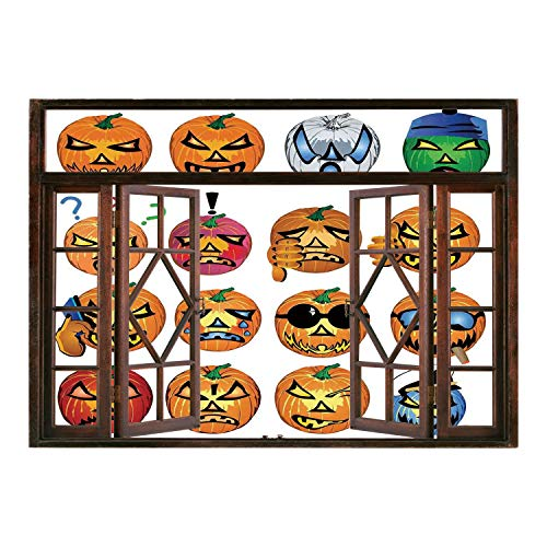 SCOCICI Peel and Stick Fabric Illusion 3D Wall Decal Photo Sticker/Halloween Decorations,Carved Pumpkin with Emoji Faces Halloween Humor Hipster Monsters Art,Orange/Wall Sticker Mural -