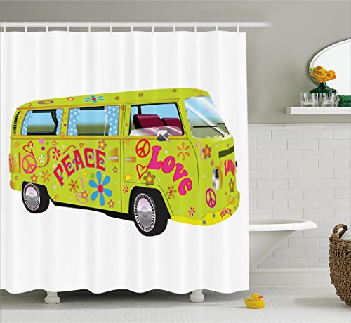 Ambesonne 1960s Decorations Collection, Hippie Van with Curtains and Flowers Bus Wagon Colors Daisies Summertime Holiday Style, Polyester Fabric Bathroom Shower Curtain Set with Hooks, Yellow (1960s Decorations)
