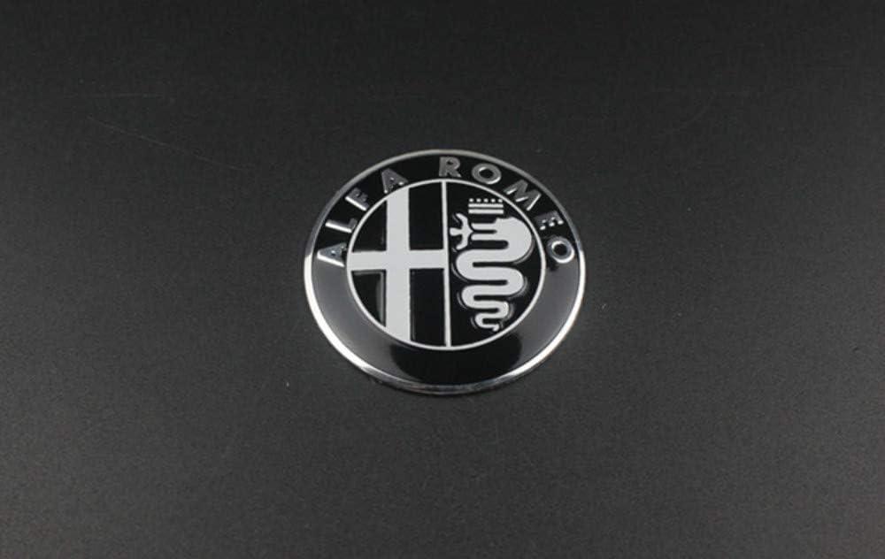 Black Embl/ème De Capuchon De Centre De Roue De 60 MM 7pcs Badge De Volant De 40 MM Embl/ème De Coffre De Capot De Voiture De 74 MM pour La D/écoration du Logo Alfa/·Romeo