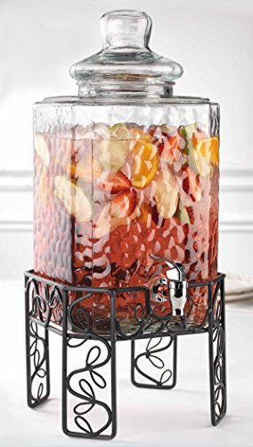 Bon Appetit 2.25 Gallon Hammered Glass Beverage Dispenser With Knobbed Lid On Leaf Patterned Metal Stand and Raised Easy Flow Spigot, for Picnics Parties Bbq – By Home Essentials & Beyond (Table Top Bar Breakfast)