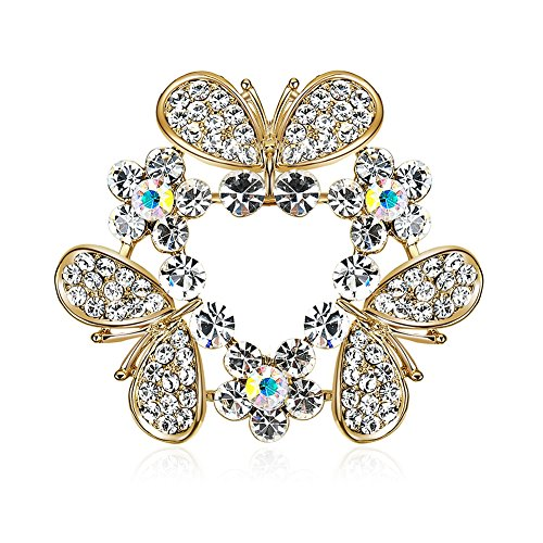 YAZILIND Clothing Accessories Cute 3 Butterfly Hollow Triangle Shape Exquisite Cubic Zirconia Brooch for Women Girls
