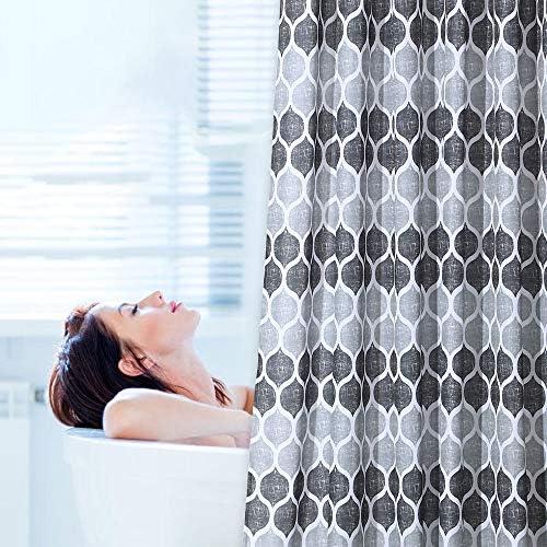 72 x 72 Pollici Tenda da Doccia in Tessuto con Motivi Geometrici per docce e vasche da Bagno Tenda da Bagno con Motivo a Piastrelle marocchine LinTimes Tenda da Doccia Grigio//Argento