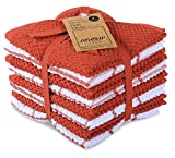 AMOUR INFINI Cotton Terry Kitchen Dish Cloths   Set of 8   12 x 12 Inches   Super Soft and Absorbent  100% Cotton Dish Rags   Perfect for Household and Commercial Uses   Rust