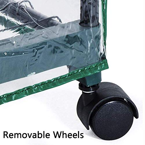 Portable 4-Tier Shelves Mini Greenhouse w/ Removable Wheels Warm Commercial PVC Cover Indoor Outdoor Clear Greenhouse Plant Flower Grow Tent Double Zipper Roll Up Front 27 in. L x 19 in. W x 63 in. H by Homes Garden (Image #2)