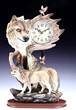 Swing clocks Grey Wolves – with Howling Wolf – Sculptured Approx 12 High – Resin- Whimscial