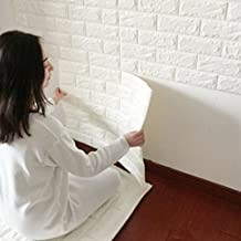 """23.6*23.6"""" Creative 3D DIY Imitation PE Foam Self Adhesive Brick Pattern Wallpaper, Soft Pack TV Sofa Background Living Room Bedroom Study Room Office Home Decoration Wall Stickers White"""