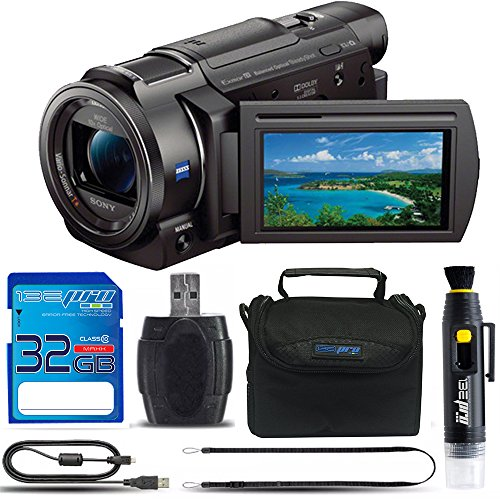 Sony FDR-AX33 4K Ultra HD Handycam Camcorder + Micro 32GB SD Card + Soft Padded Camera Carrying Case + Memory Card Reader + Lens Cleaning Pen + Manufacture Supplies -  Deal-Expo, SNAX33DB