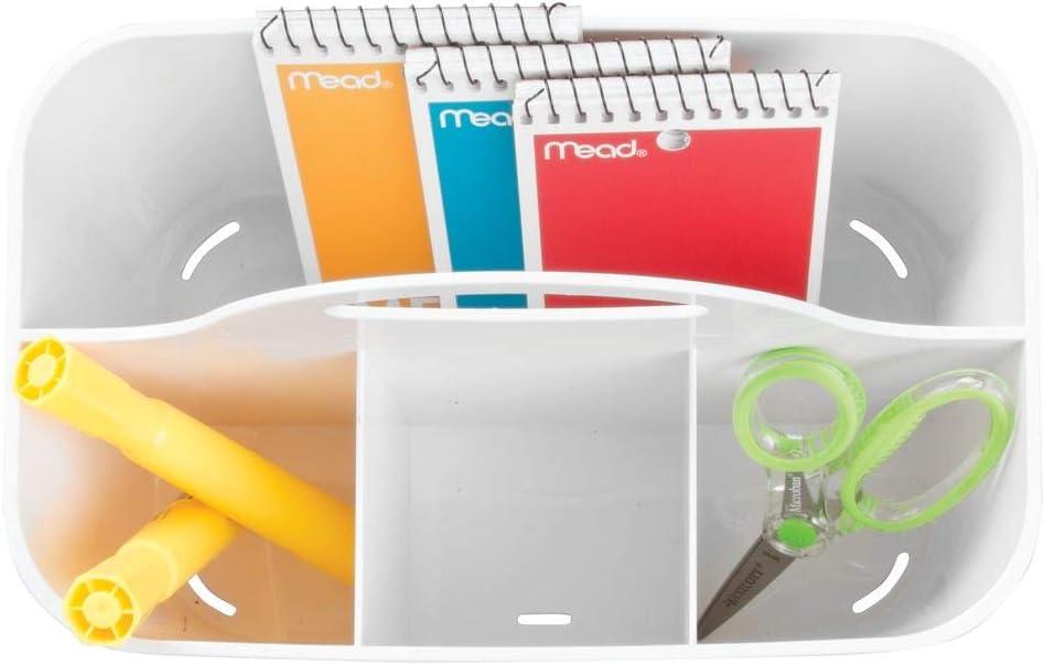 lot de 2 panier /à poign/ée pour crayons ciseaux rangement /à papeterie ou couture en plastique blanc 4 compartiments mDesign bo/îte de rangement transportable petit etc