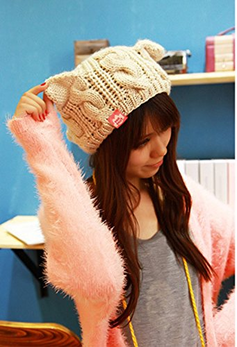 0662a2937e608 Fashion Women Girl Warm Winter Fall Wool Crochet Baggy Beret Beanie Hat  Caps Cute Devil Horn Cat Ear Shape Knitted Hats Elastic Outdoor Ski Beanie  Cap ...