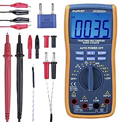 Kuman Digital Multimeter, True RMS 6000 Counts Multimeters Manual and Auto Ranging, Measures Voltage, Current, Resistance, Continuity, Capacitance, Frequency, Transistors, Temperature