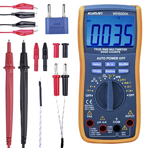 Kuman Digital Multimeter, True RMS 6000 Counts Multimeters Manual and Auto Ranging, Measures Voltage, Current, Resistance, Continuity, Capacitance, Frequency; Tests Diodes, Transistors, Temperature