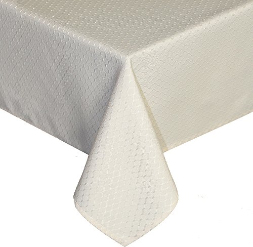 Ufriday Perfectly Weighted Tablecloth Water-Proof and Stain-Resistant Honeycomb Fabric, Modern Design Table Cover Polyester Spill Proof, for Dinner Table, 60 inches x 102 inches, Cream Cream Classic Dining Table