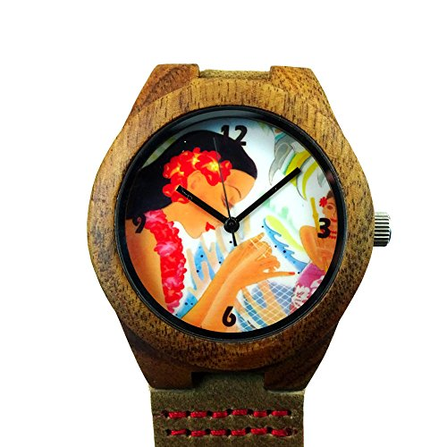 Price comparison product image Handmade Kahala Wooden Watch Made With Natural Acacia Koa Wood with Hawaiian Net Making Artwork - HGW-204