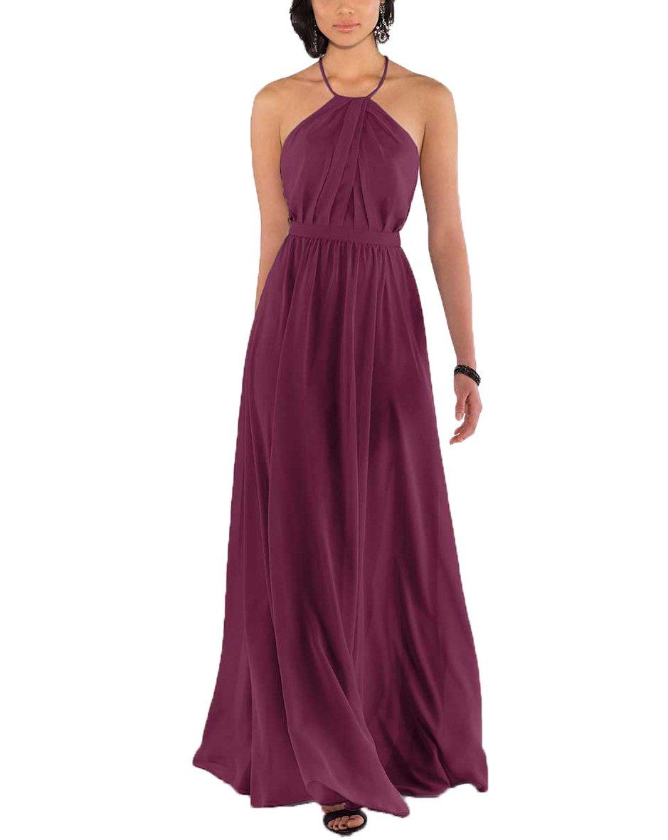 Nicefashion Halter Empire Ruffles Chiffon Open Back A Line Long Bridesmaid Dress