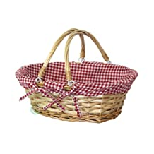 Vintiquewise QI003055.RF Oval Willow Basket with Red White Plaid Lining and Handles