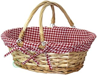 Vintiquewise(TM) Oval Willow Basket with Red White Plaid Lining and Handles