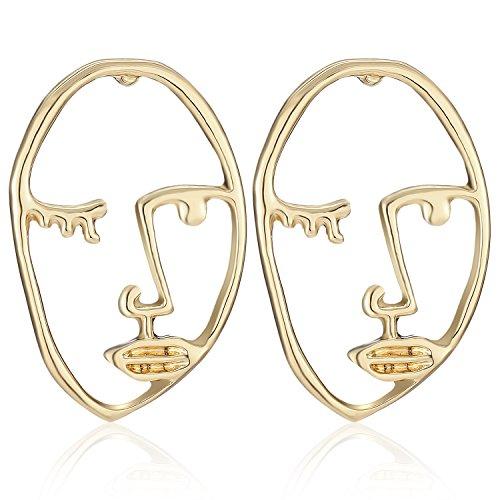 LILIE&WHITE Statement Geometric Face Ethnic Earrings Skull Head Earrings for Women Cool Party Jewelry (Earrings Geometric)