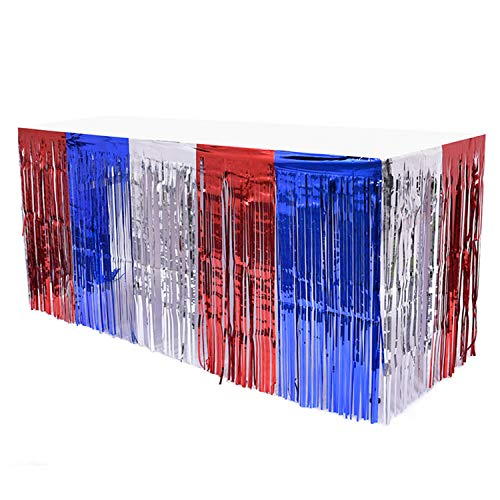 Table Skirt Red White Blue Decorations for 4th of July Patriotic Independence Day USA Party Decorations