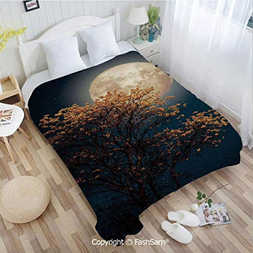 PUTIEN Flannel Fleece Blanket with 3D Beautiful Retro Tree with Blooming Yellow Flowers Elements from Milky Way Galaxy Sofa Blanket for Bedroom(59Wx78L)