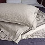 Full / Queen Size Pure French Flax Linen Duvet Cover Set in Natural Linen Color (1 duvet cover + 2 standard shams)