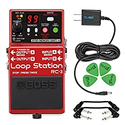 Boss Audio RC-3 Loop Station Compact Stereo Recorder Pedal -INCLUDES- Blucoil 9V Power Supply with 4 Pack of Guitar Picks AND 2 Hosa 6 inch Molded Right-Angle Guitar Patch Cables from blucoil