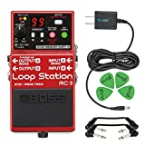 Boss RC-3 Loop Station Stereo Recorder Pedal -INCLUDES- Blucoil Power Supply Slim AC/DC Adapter for 9 Volt DC 670mA, 4 Pack of Guitar Picks AND 2 Hosa 6-inch Molded Right-Angle Patch Cables