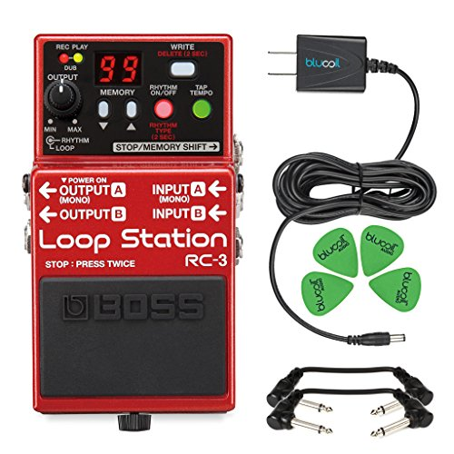 Boss RC-3 Loop Station Stereo Recorder Pedal -INCLUDES- Blucoil Power Supply Slim AC/DC Adapter for 9 Volt DC 670mA, 4 Pack of Guitar Picks AND 2 Hosa 6-inch Molded Right-Angle Patch Cables by blucoil