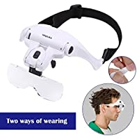 Headband Magnifier Glasses LED Magnifying Loupe Head Mount Magnifier Hands-Free Bracket and Headband are Interchangeable 5 Replaceable Lenses1.0X,1.5X,2.0X,2.5X,3.5X (Upgraded Version)