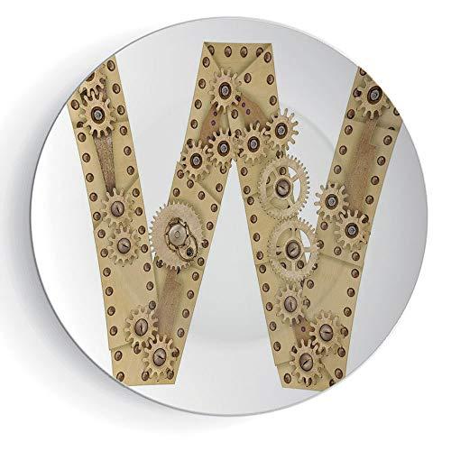 "6"" Decorative Ceramic Plate Letter W Ceramic Decorative Plates Steampunk Style Automated ABC Symbol Uppercase W Gears Structure Worn Look Print Decorative"
