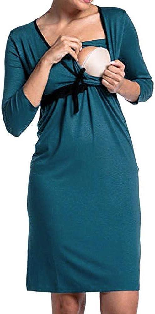 Italily Donna Gravidanza Manica Lunga V Collo Raccogliere Pigiama Vestito maternit/à Abiti Allattamento Vestito Casa Camicia da Notte Casual Abbigliamento da Casa Dress