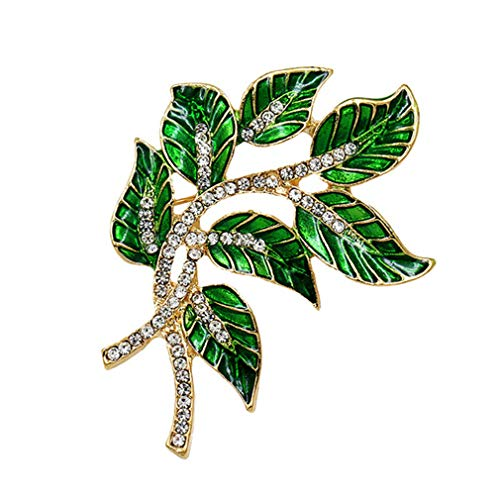 Green Enamel Leaf And Clear Crystal Brooches For Women Dress Shirt Statement Jewelry