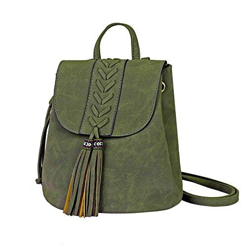 Ricamato Partito Morbido Girls Scuro Viaggiare bohemian Rucksack Pu Zaino Holiday Party Verde Fashion Shopping Per Donna lKuFc351JT