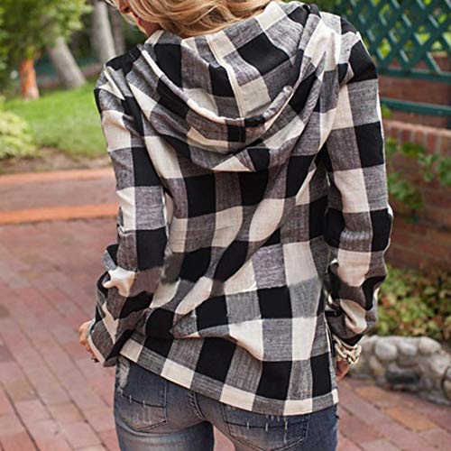 Shirt Blouse Fashion T Hoodie Top Long VJGOAL Black Pullover Sweatshirt Plaid Autumn Womens Sleeve wpvnxfXS