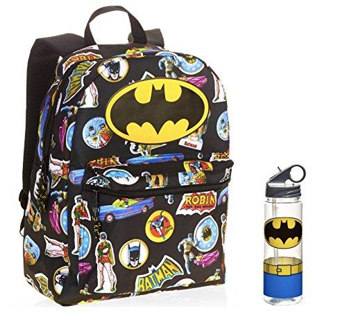 """Batman Full Size 16"""" Inch Backpack & Tritan Water Bottle - Kids"""
