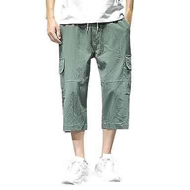 e704450798 wodceeke Cotton Linen Shorts for Men, Casual Harem Pants Jogger Pants  Fitness Trousers Loose Pants