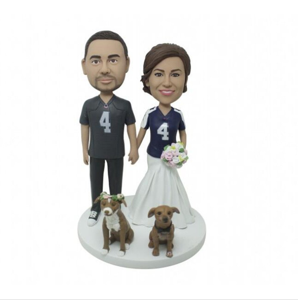 Custom Bobbleheads Couple Wedding And Dogs Polymer Clay Bobbleheads Cake Toppers by MiniBobbleheads
