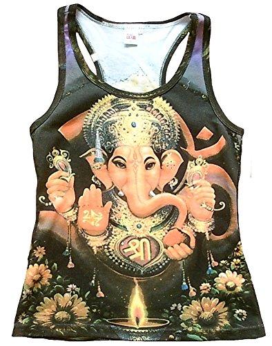 Canotta da donna Ticila divinità Hindu God Lord maglietta lilla Trono di GANESHA Goa Trance psicopatica delic Dj Beach Party Arte Art Religion Star Designer Vintage Tattoo Design