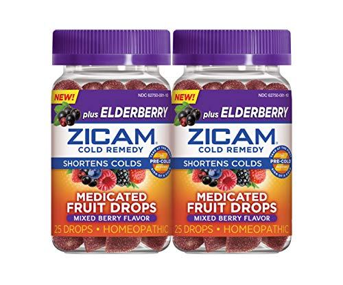ZICAM Cold Remedy Plus Elderberry Medicated Fruit Drops, Homeopathic Medicine for Shortening Colds