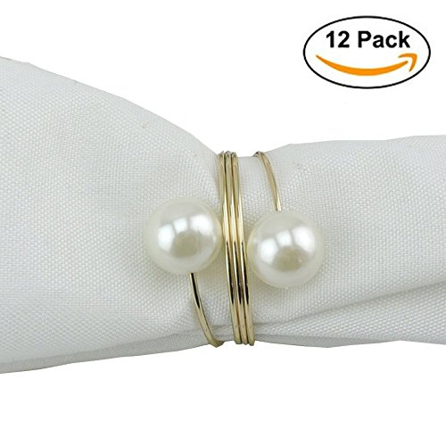 Elinq Set of 12 Imitation Pearls Napkin Rings for Wedding, Party, Holiday, Dinner Decor(Gold) (Rings For Napkins)