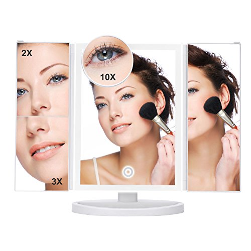 Freestanding Magnifying Mirror ((Upgraded)YIIYAA Vanity Makeup Mirror Trifold Illuminated Touch Screen with 38Pcs 180 Degree 3x/2x/10x Magnification and USB Charging Countertop Cosmetic Makeup White)