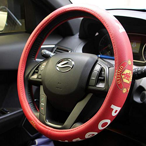 Carmen Football Team Auto Car Steering Wheel Cover Barcelona Manchester United NBA Bull Fans Sport Style Universal 15 Inch Wheel Cushion Protector 38cm (Manchester United)