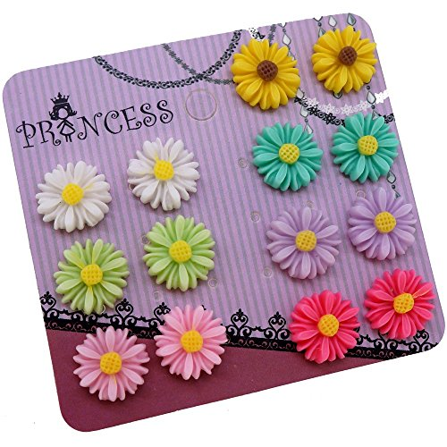 Princess-J Color Daisy Flower Magnetic Clip On Stud Earrings, Pack of 7 Pairs