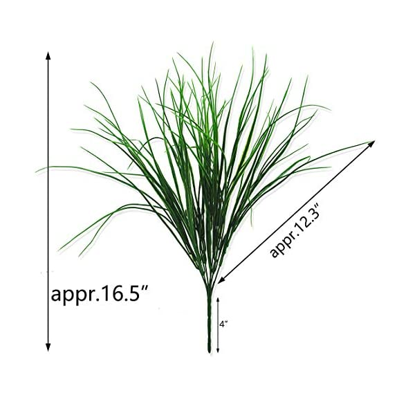 4 Pcs Artificial Plants Outdoor Flowers Faux Plastic Wheat Grass UV Resistant Greenery Shrubs Bushes Potted Plant for Indoor Outside Planter Home Garden Office Wedding Party Decor (16.5″ Wheat Grass)