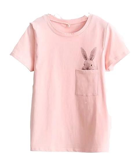 Pink bunny pocket tee