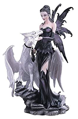 George S. Chen Imports SS-G-91466 Black Fairy with White Dragon Collectible Figurine Decoration Statue