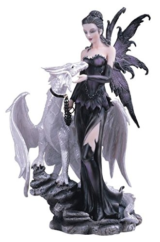 Lady Anne Crystal Gifts - George S. Chen Imports SS-G-91466 Black Fairy with White Dragon Collectible Figurine Decoration Statue