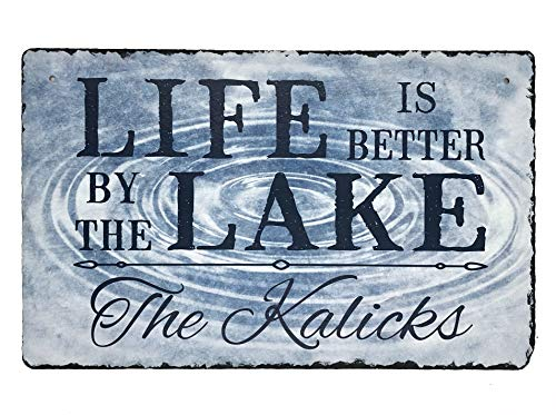 (Sassy Squirrel Beautifully Handcrafted and Customizable Slate Home Address Plaque Sign Life is Better by The Lake (12
