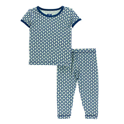 - Kickee Pants Little Boys Print Short Sleeve Pajama Set - Pistachio Taj Mahal, 2T